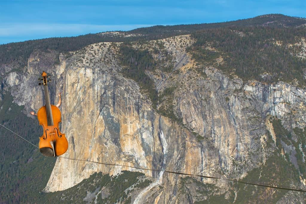 A violin walks the tightrope