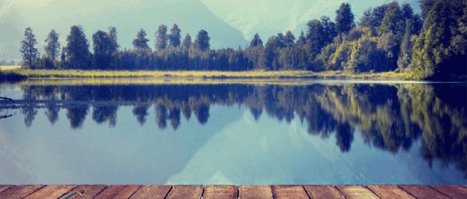 violin on lakeside dock