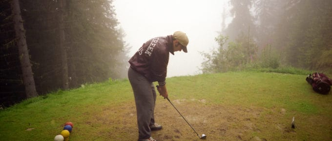 Foggy tee box in Verbier, Switzerland